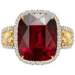 8.0 Carat Burgundy Rhodolite Garnet Diamond 18 Karat Yellow Gold Cocktail Ring