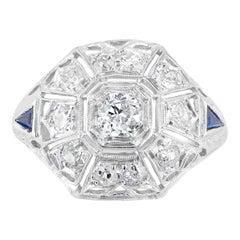 .80 Carat Diamond Sapphire Pierced Dome Platinum Engagement Ring