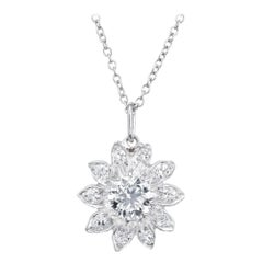 .80 Carat Diamond White Gold Flower Art Deco Pendant Necklace