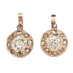 .80 Carat Diamond Yellow Gold Earrings