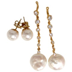.80 Carat Diamonds South Sea White Pearl Studs and Jacket Earrings 14 Karat