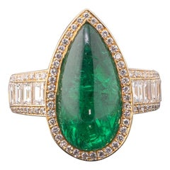 8.0 Carat Emerald Pear Shape Cabochon Engagement Ring