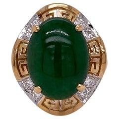 8.0 Carat Jade Diamond 14 Karat Yellow Gold Greek Key Design Cocktail Ring