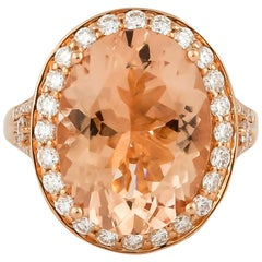8.0 Carat Morganite and Diamond Ring in 18 Karat Rose Gold