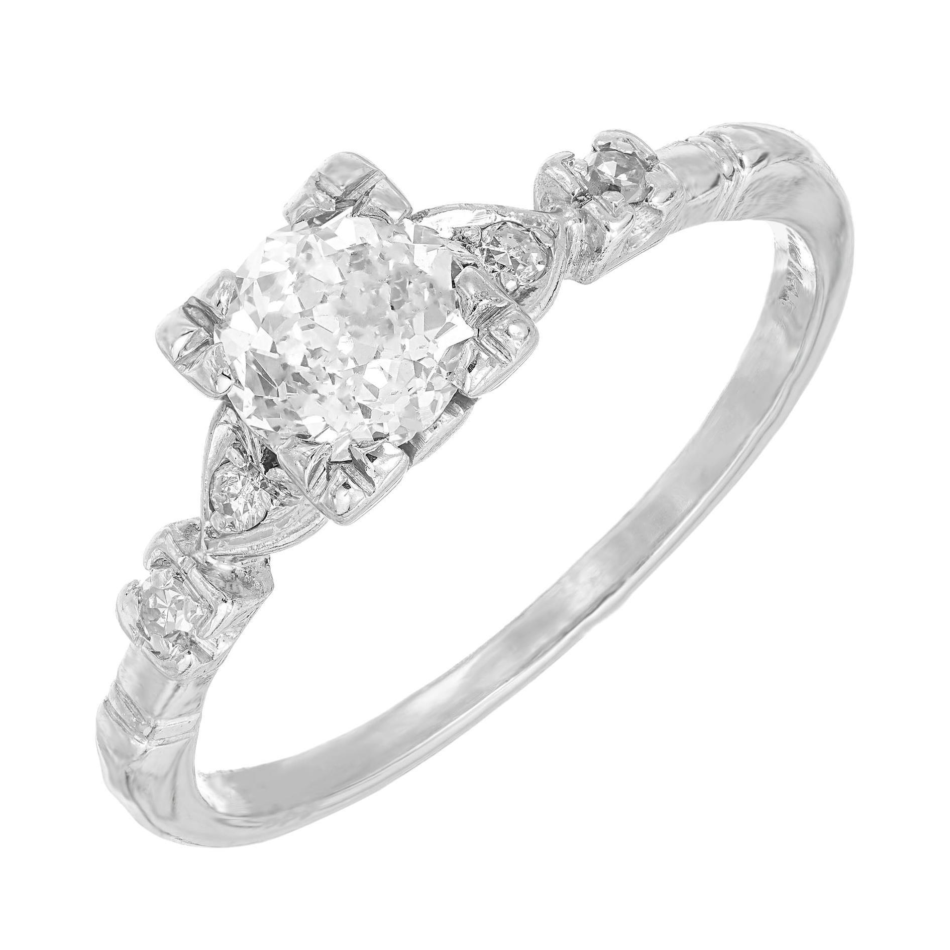 .80 Carat Old European Cut Diamond Platinum Art Deco Engagement Ring