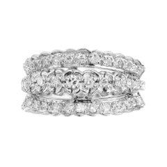 .80 Carat Three Row Diamond White Gold Cocktail Ring