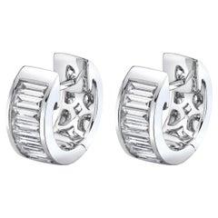 .80 Carat Total Diamond Baguette White Gold Hinged Cuff Hoop Earrings