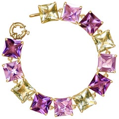 80 Carat Violet, Rose and Green Amethyst 14 Karat Yellow Gold Bracelet