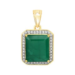 8.00 Carat Brazilian Emerald and White Diamond 14 Karat Yellow Gold Pendant
