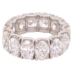 8.00 Carat Diamond Oval Shape Eternity Ring Band in 18 Karat White Gold