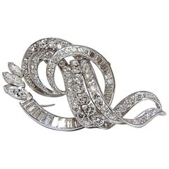 8.00 Carat Diamonds Platinum Art Deco Brooch