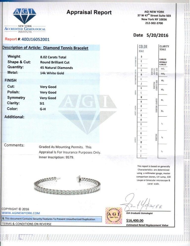 Round Cut 8.00 Carat Diamonds Tennis Bracelet For Sale