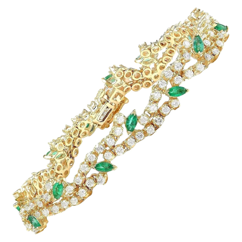 8.00 Carat Emerald 18 Karat Solid Yellow Gold Diamond Bracelet