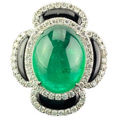 8.00 Carat Emerald Cabochon, Diamond and Black Onyx Cocktail Ring