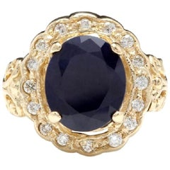 8.00 Carat Exquisite Natural Blue Sapphire and Diamond 14K Solid Yellow Gold