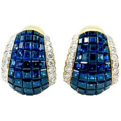 8.00 Carat Invisible Set Sapphire and Diamond Clip Earrings with Fold Down Post