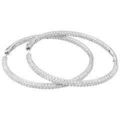 8.00 Carat Micro Pave Diamond Gold Hoop Earrings