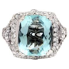 8.00 Carat Natural Aquamarine 18 Karat Solid White Gold Diamond Ring