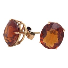 8.00 Carat Natural Citrine Solitaire Stud Earrings Set in 14 Karat Yellow Gold