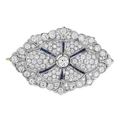 8.00 Carat Round Diamond and Sapphire Brooch