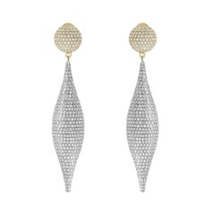 8.00 Carat Round Diamond Pave Set 18Karat White Yellow Gold Drop Earrings