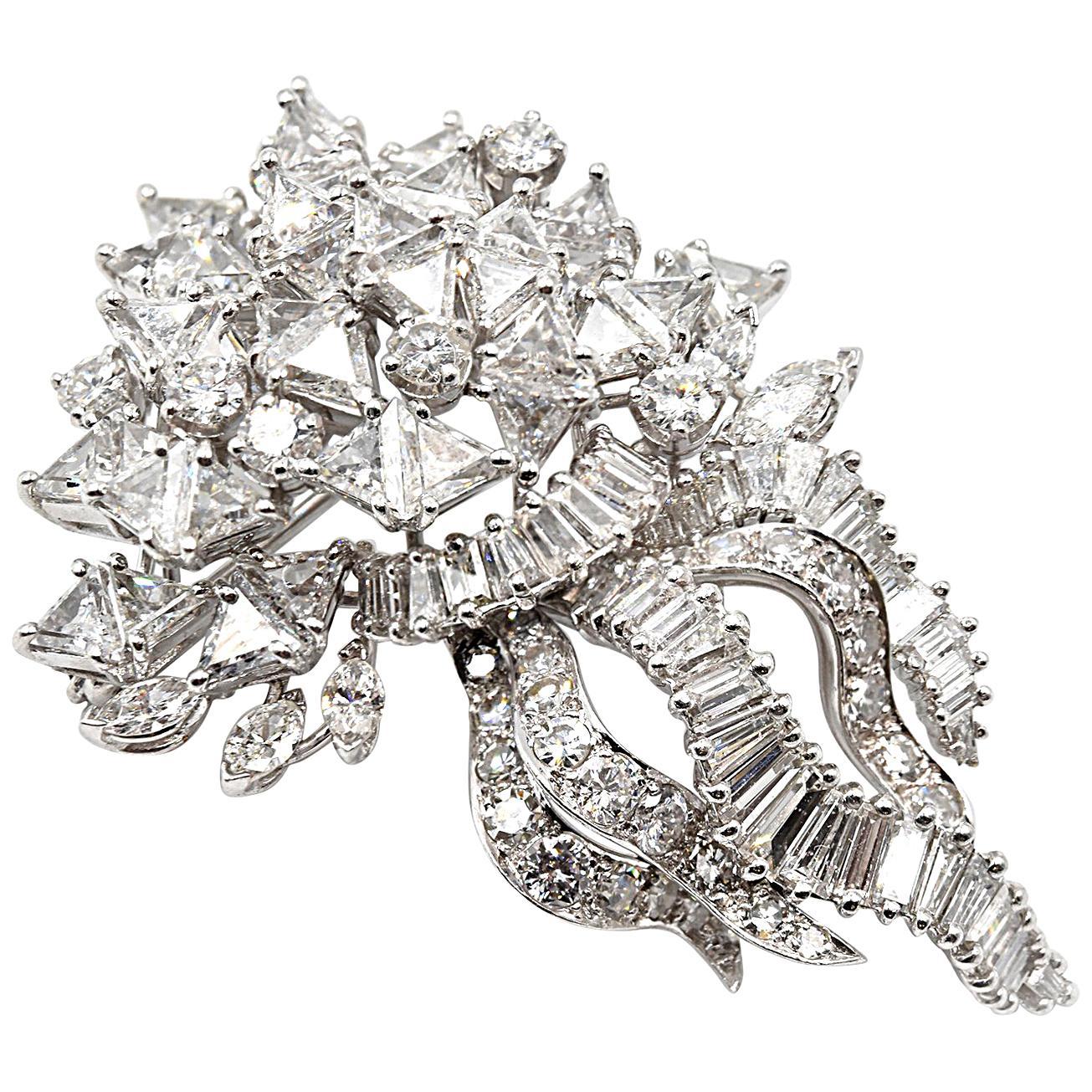 8.00 Carat Total Weight Platinum Diamond Pin