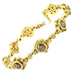 8.00 Carats 18ky Cognac and Fancy Yellow Diamonds Bracelet