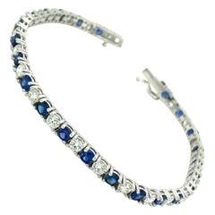 8.00 Ct Sapphire & Diamond Tennis Bracelet 14kt White Gold