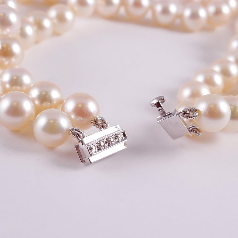 Cultured Pearl Long Necklace Diamond Clasp In Excellent Condition In Dallas, TX