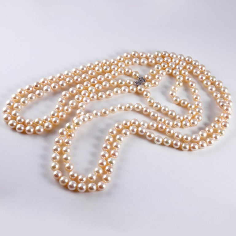Cultured Pearl Long Necklace Diamond Clasp 1
