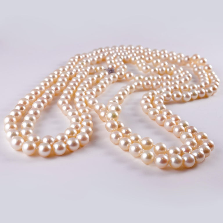 Cultured Pearl Long Necklace Diamond Clasp 2