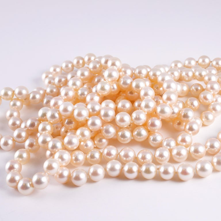 Cultured Pearl Long Necklace Diamond Clasp 3