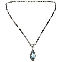 800 Silver Bookchain with 935 Silver Blue Spinel Pendant
