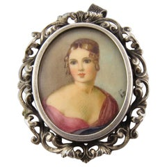 800 Silver Hand-Painted Portrait Brooch or Pendant