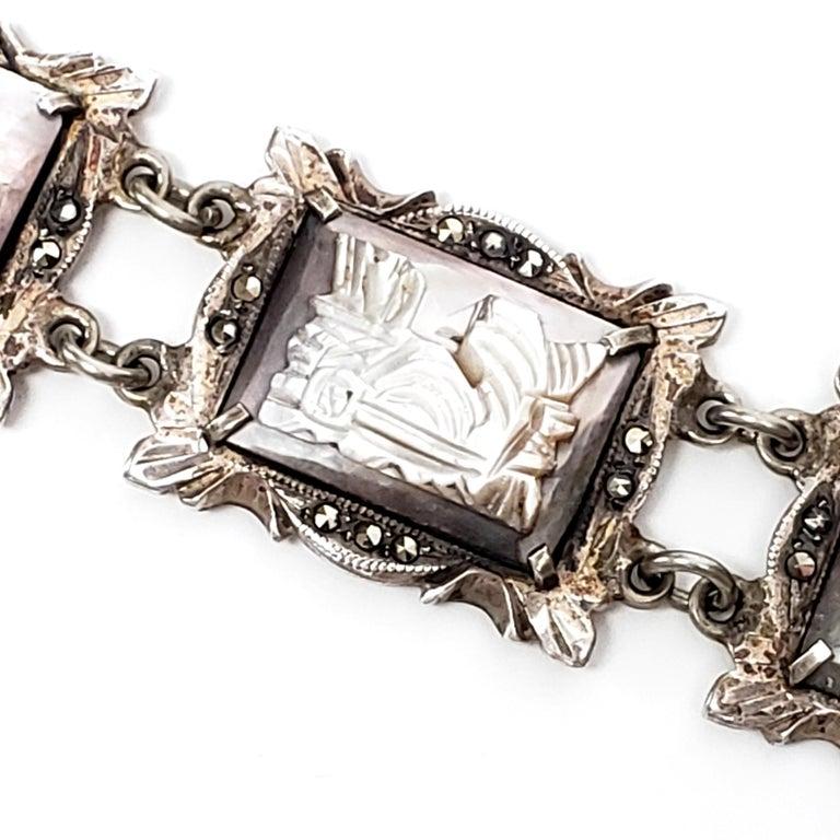 Vintage Amethyst Abalone and Marcasite Link Bracelet