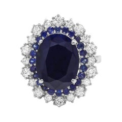 8.00ct Natural Blue Sapphire & Diamond 14k Solid White Gold Ring