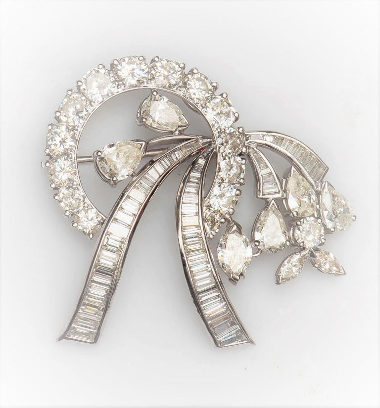 Pear Cut 8.00Ctw Mix Shaped Diamond Convertible Brooch & Pendant in Ribbon Floral Design For Sale