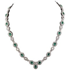 8.01 Carat Emerald Diamond Necklace