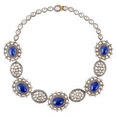 80.1 Carat Tanzanite Rose Cut Diamond Maharaja Necklace