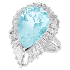 8.02 Carat Aquamarine and 4.32 Carat Diamond Platinum Cocktail Ring