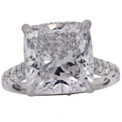 8.02 Carat Cushion Cut Diamond Engagement Ring