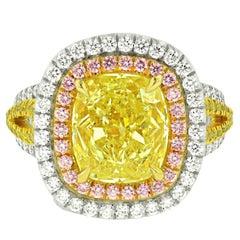 8.02 Carat Fancy Yellow Diamond Ring