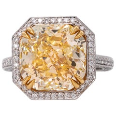 8.02 Ct  Fancy Yellow Radiant Cut Diamond Engagement Ring 18K White Gold GIA