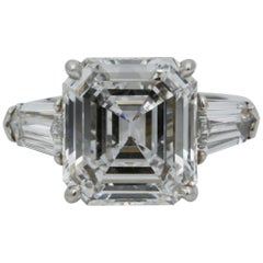 8.02 Carat GIA Three-Stone 8.02 carat emerald cut Diamond Platinum Ring