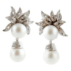 80.23 Carat South-Sea Pearls, White Diamonds, White Gold Clip-On/Drop Earrings