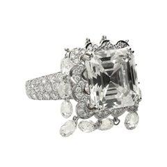 "8.03 Carat Emerald-Cut Boucheron ""Laperouse"" Briolette GIA Diamond Ring"
