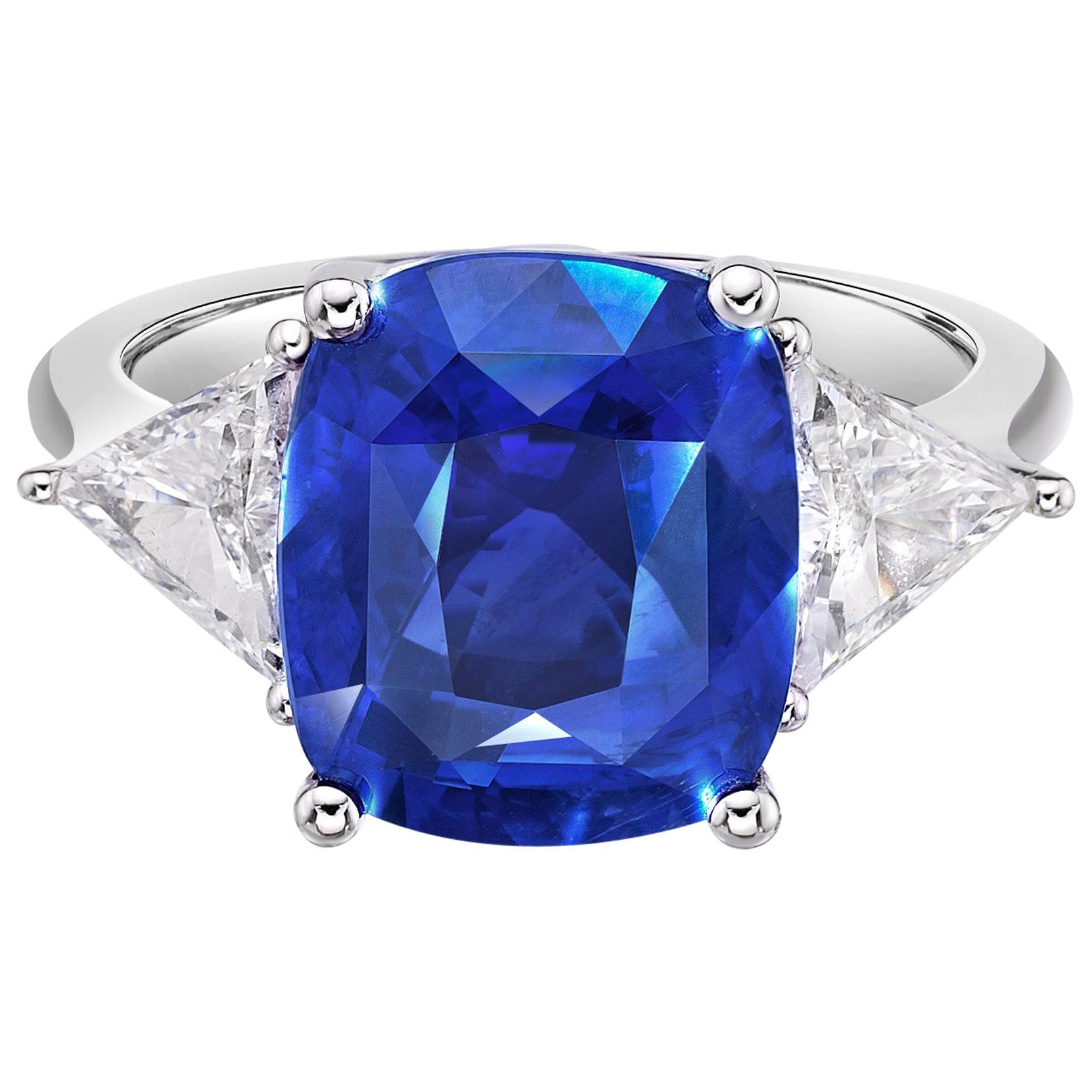 8.03 Carat Royal Blue Sapphire Sri Lanka GRS Certified Unheated Ceylon Ring