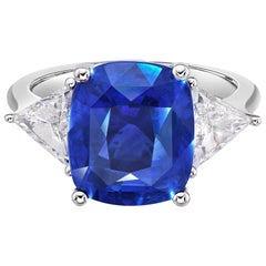 8.03 Carat GRS Certified Natural Non Heated Sapphire and Natural Diamond Ring