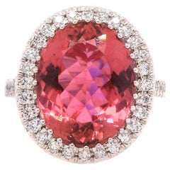 8.03 Carat Pink Tourmaline and Diamond Ring
