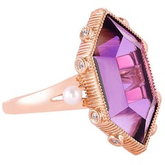 8.04 Carat Amethyst Ring in 18 Karat Rose Gold with Diamond and Pearls